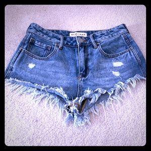 High rise super distressed jean shorts
